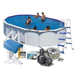 Pool white steel Oval 12 Baspaket Swim & Fun